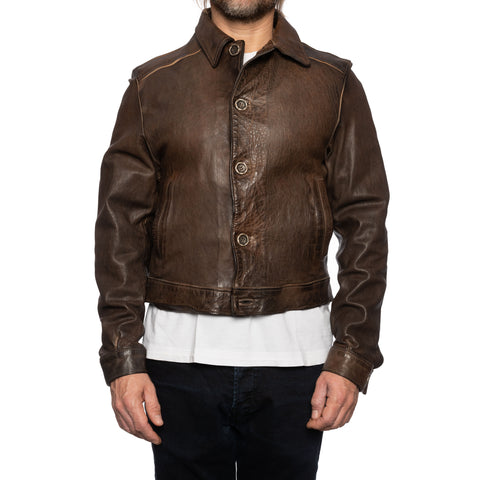 GIANLUCA VACCHI Collection Brown Antiqued Leather Blouson Jacket XS