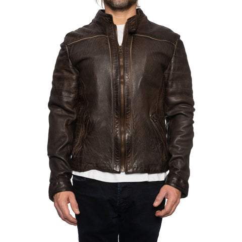GIANLUCA VACCHI Collection Brown Antiqued Leather Cafe Racer Jacket S