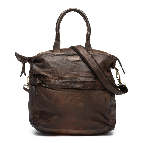 GIANLUCA VACCHI Collection Brown Antiqued Vintage Look Leather Holdall Bag NEW