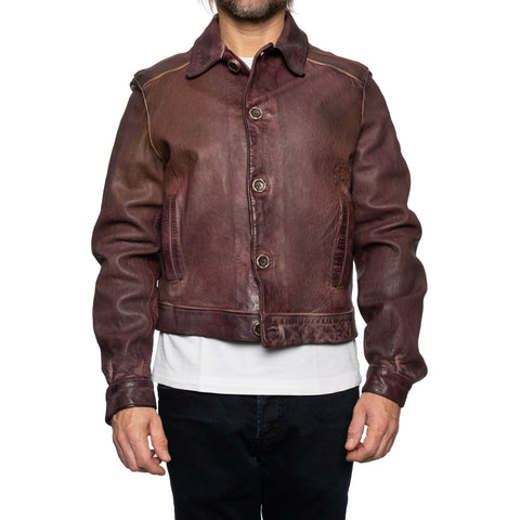 GIANLUCA VACCHI Collection Burgundy Antiqued Leather Blouson Jacket S