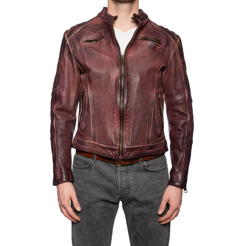 GIANLUCA VACCHI Collection Burgundy Antiqued Leather Cafe Racer Jacket M