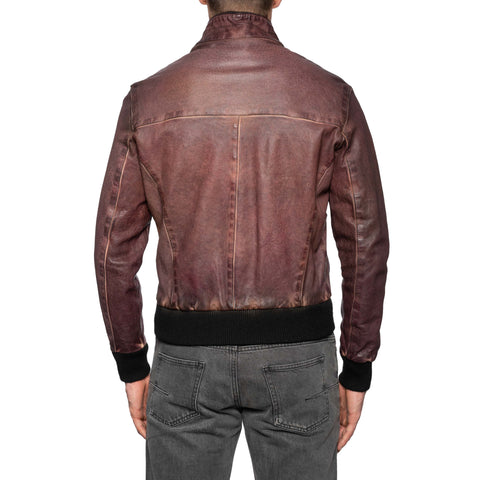 GIANLUCA VACCHI Collection Burgundy Antiqued Leather Bomber Jacket M