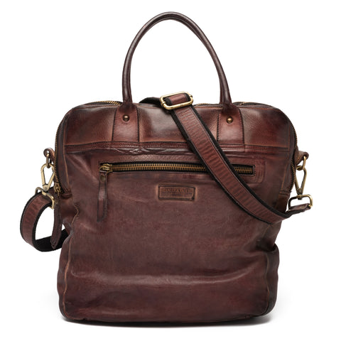 GIANLUCA VACCHI Collection Burgundy Vintage Look Leather Holdall Bag NEW