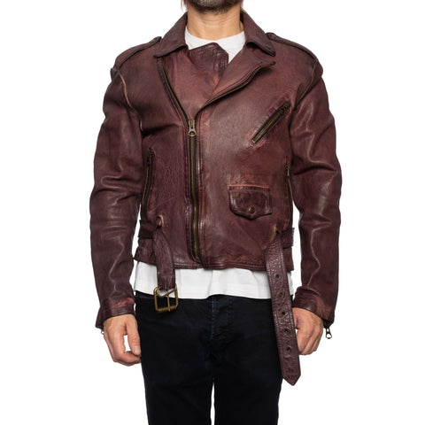 GIANLUCA VACCHI Collection Burgundy Antiqued Leather Belted Motorcycle Jacket S