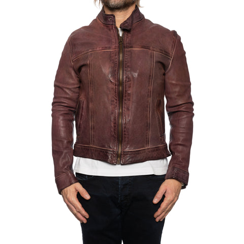 GIANLUCA VACCHI Collection Burgundy Antiqued Leather Bomber Biker Jacket S