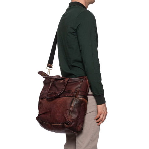 GIANLUCA VACCHI Collection Burgundy Antiqued Leather Holdall Bag NEW