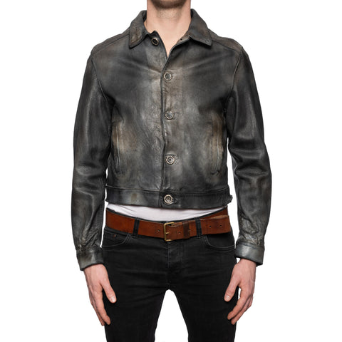 GIANLUCA VACCHI Collection Dark Gray Antiqued Leather Blouson Jacket S-M