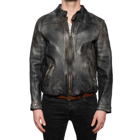GIANLUCA VACCHI Collection Dark Gray Antiqued Leather Cafe Racer Jacket M