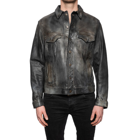 GIANLUCA VACCHI Collection Dark Gray Antiqued Leather Trucker Jacket M