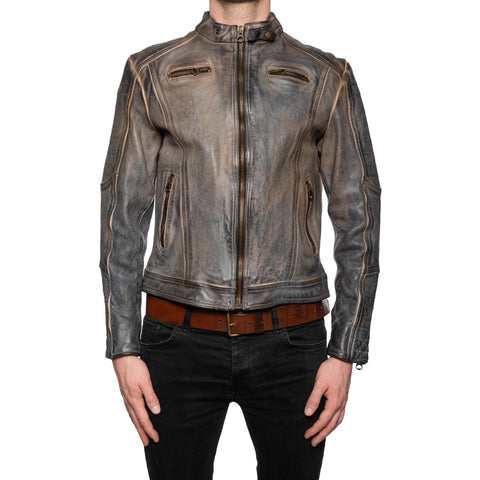 GIANLUCA VACCHI Collection Gray Antiqued Leather Cafe Racer Jacket S-M