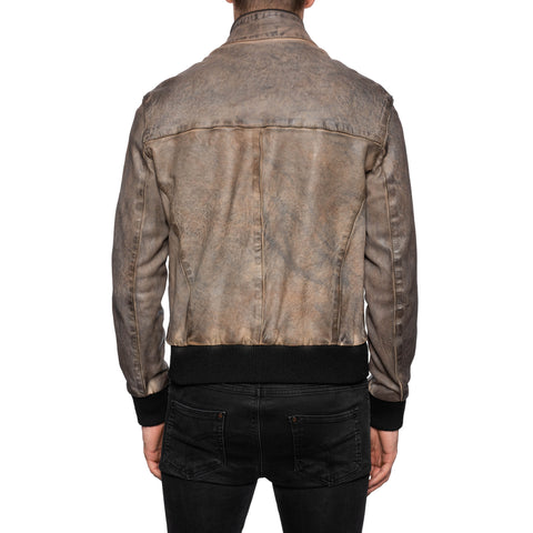 GIANLUCA VACCHI Collection Gray Antiqued Leather Bomber Jacket M