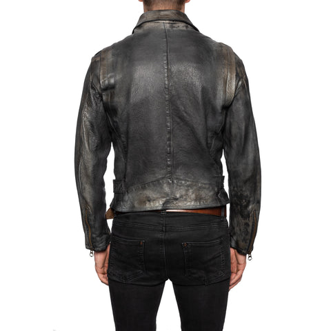 GIANLUCA VACCHI Collection Gray Antiqued Leather Belted Motorcycle Jacket M