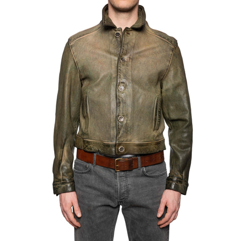 GIANLUCA VACCHI Collection Green Antiqued Leather Blouson Jacket M