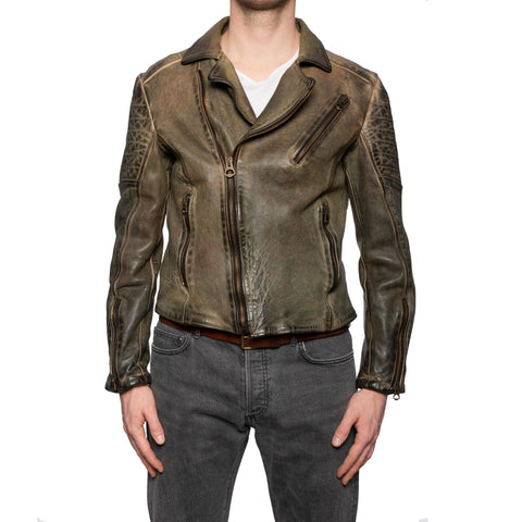 GIANLUCA VACCHI Collection Green Antiqued Leather Perfecto Motorcycle Jacket M