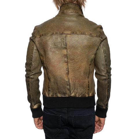 GIANLUCA VACCHI Collection Green Antiqued Leather Bomber Jacket S