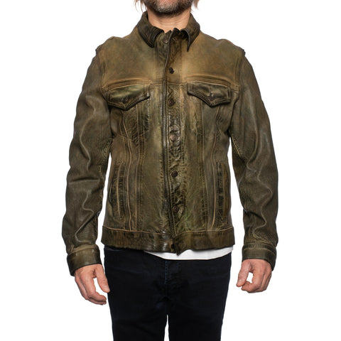 GIANLUCA VACCHI Collection Green Antiqued Leather Trucker Jacket S