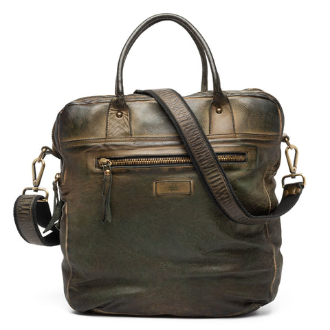 GIANLUCA VACCHI Collection Green Antiqued Vintage Look Leather Holdall Bag NEW