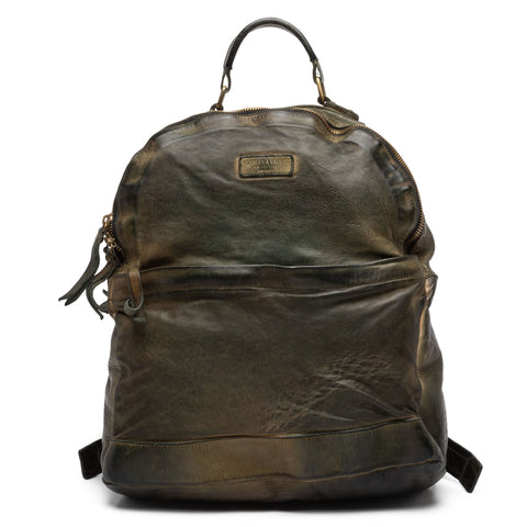 GIANLUCA VACCHI Collection Green Antiqued Leather Backpack Bag NEW