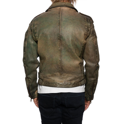 GIANLUCA VACCHI Collection Green Antiqued Leather Perfecto Motorcycle Jacket S