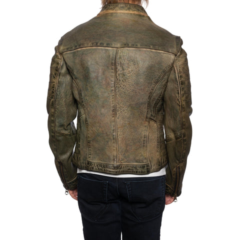 GIANLUCA VACCHI Collection Green Antiqued Leather Cafe Racer Jacket S