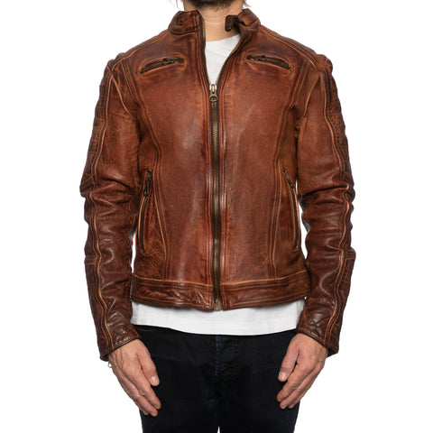 GIANLUCA VACCHI Collection Rust Antiqued Leather Cafe Racer Jacket XS