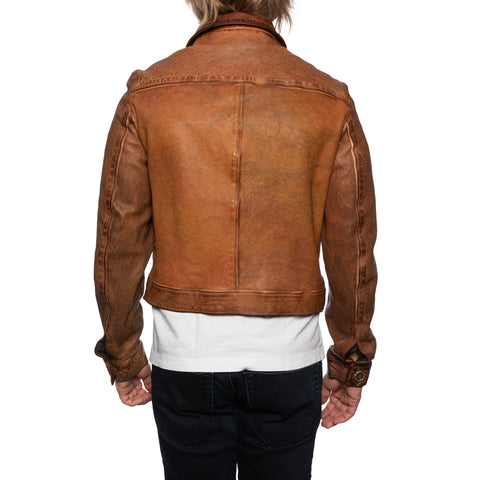 GIANLUCA VACCHI Collection Rust Brown Antiqued Leather Blouson Jacket S