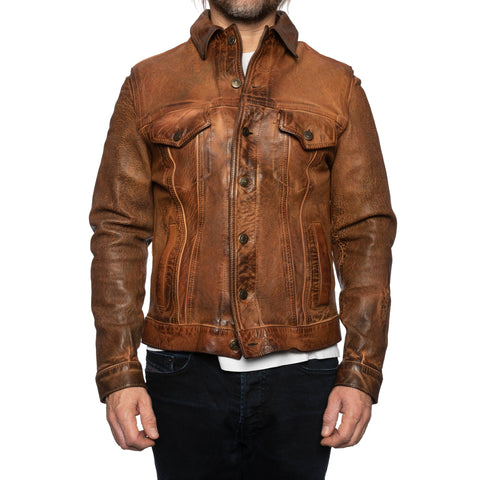GIANLUCA VACCHI Collection Rust Brown Antiqued Leather Trucker Jacket XS