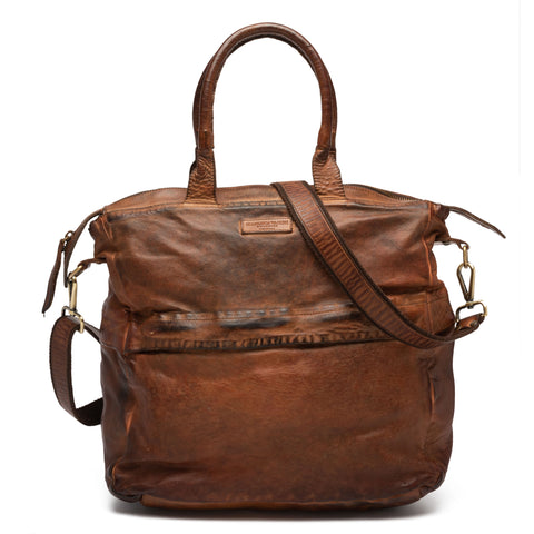 GIANLUCA VACCHI Collection Rust Brown Antiqued Leather Holdall Bag NEW