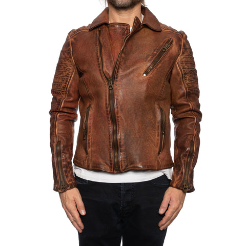 GIANLUCA VACCHI Collection Rust Antiqued Leather Motorcycle Jacket S