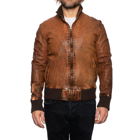 GIANLUCA VACCHI Collection Rust Antiqued Leather Bomber Jacket S