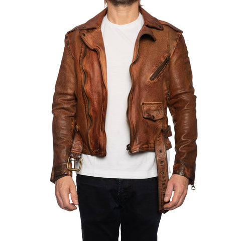 GIANLUCA VACCHI Collection Antiqued Belted Motorcycle Perfecto Jacket XS