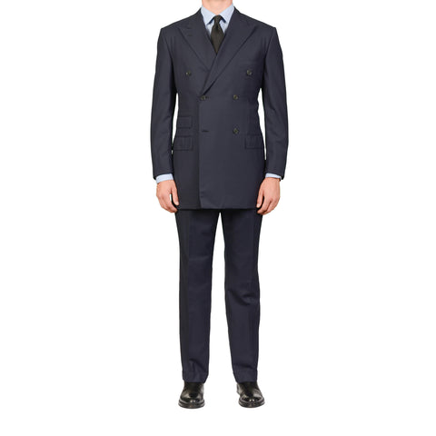 GIEVES & HAWKES Navy Blue Textured Wool Super 150's DB Suit 51 NEW US 41 Long