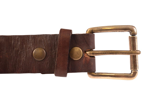"GILDED AGE Brown Leather Antiqued Distressed Belt Size S / 32"" Made in USA"