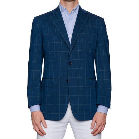 GIOVANNI CASTANGIA Handmade Blue Merino Super 120's Jacket EU 50 NEW US 40