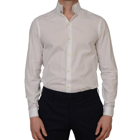 GIVENCHY Paris White Cotton Collarless Dress Shirt US 15.5 EU 39