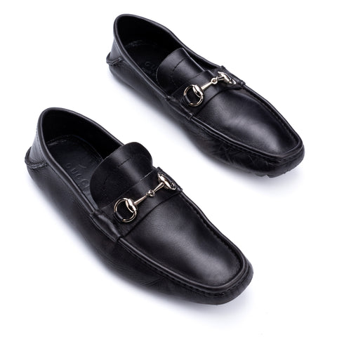 GUCCI Black Leather Horsebit Loafer Driving Shoes EU 40 US 7 Shoe Bag