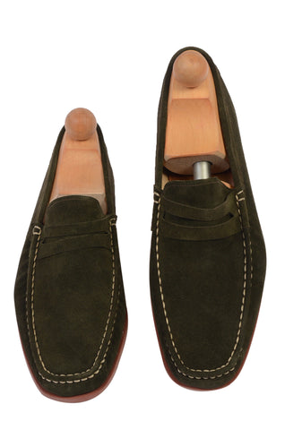 "RUBINACCI Napoli ""Boat Mocassin"" Green Suede Loafer Moccasin Shoes NEW"