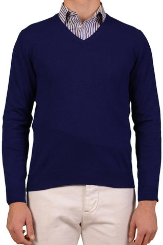 HACKETT LONDON Navy Blue Wool-Silk-Cashmere V-Neck Sweater US M NEW EU 50 - SARTORIALE - 1