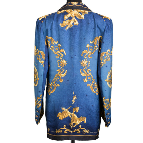 HERMES by Philippe Ledoux Blue Cosmos Printed Silk Women Blazer Jacket FR 40 US 8