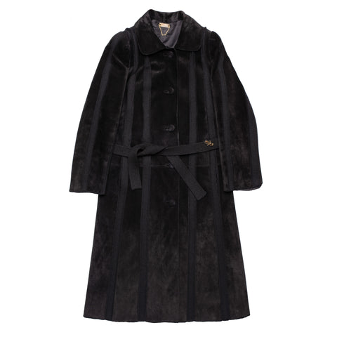 HETTABRETZ Black Suede Leather Knit Belted Women's Coat US 8 10