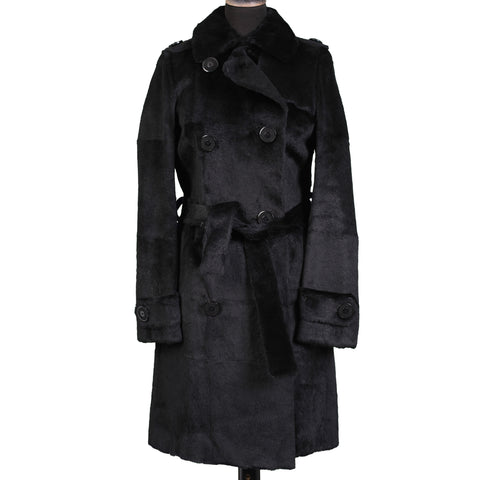 "HOCKLEY London ""Claudia"" Black Sheared Rabbit Trench Coat EU 42 NEW US 10"
