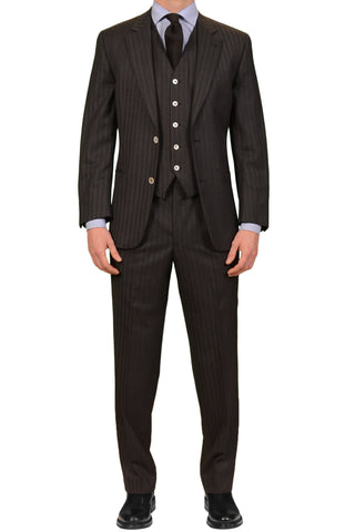 HOLLAND & SHERRY Gray Striped Super 110's 3 Piece Bespoke Suit EU 48 US 38