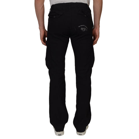 ICEBERG Black Linen Blend Cargo Casual Pants EU 44 US 30 Straight Fit