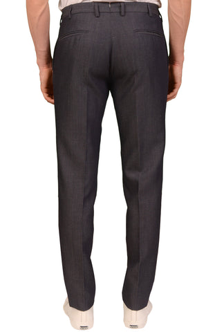 INCOTEX (Slowear) Gray Patterned Wool-Linen Flat Front Dress Pants NEW Slim Fit