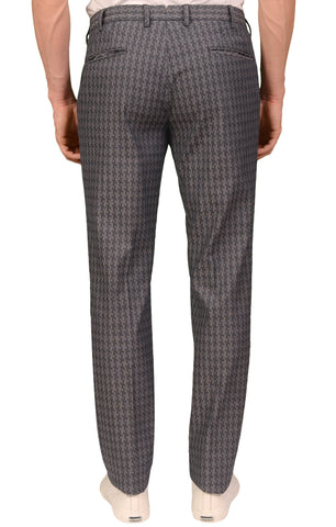 INCOTEX (Slowear) Gray Shepherd's Check Stretch Cotton Pants NEW Slim Fit