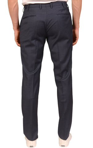 INCOTEX (Slowear) Blue Checked Wool Flat Front Dress Pants NEW Slim Fit