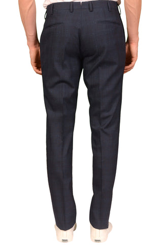 INCOTEX (Slowear) Blue Prince of Wales Wool Flat Front Pants 56 NEW US 40 Slim Fit
