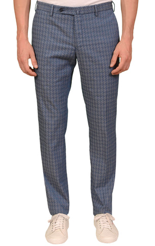 INCOTEX (Slowear) Blue Shepherd's Check Stretch Cotton Pants 48 NEW US 32 Slim Fit