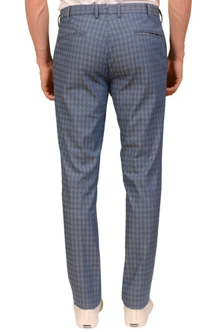 INCOTEX (Slowear) Blue Shepherd's Check Stretch Cotton Casual Pants NEW Slim Fit
