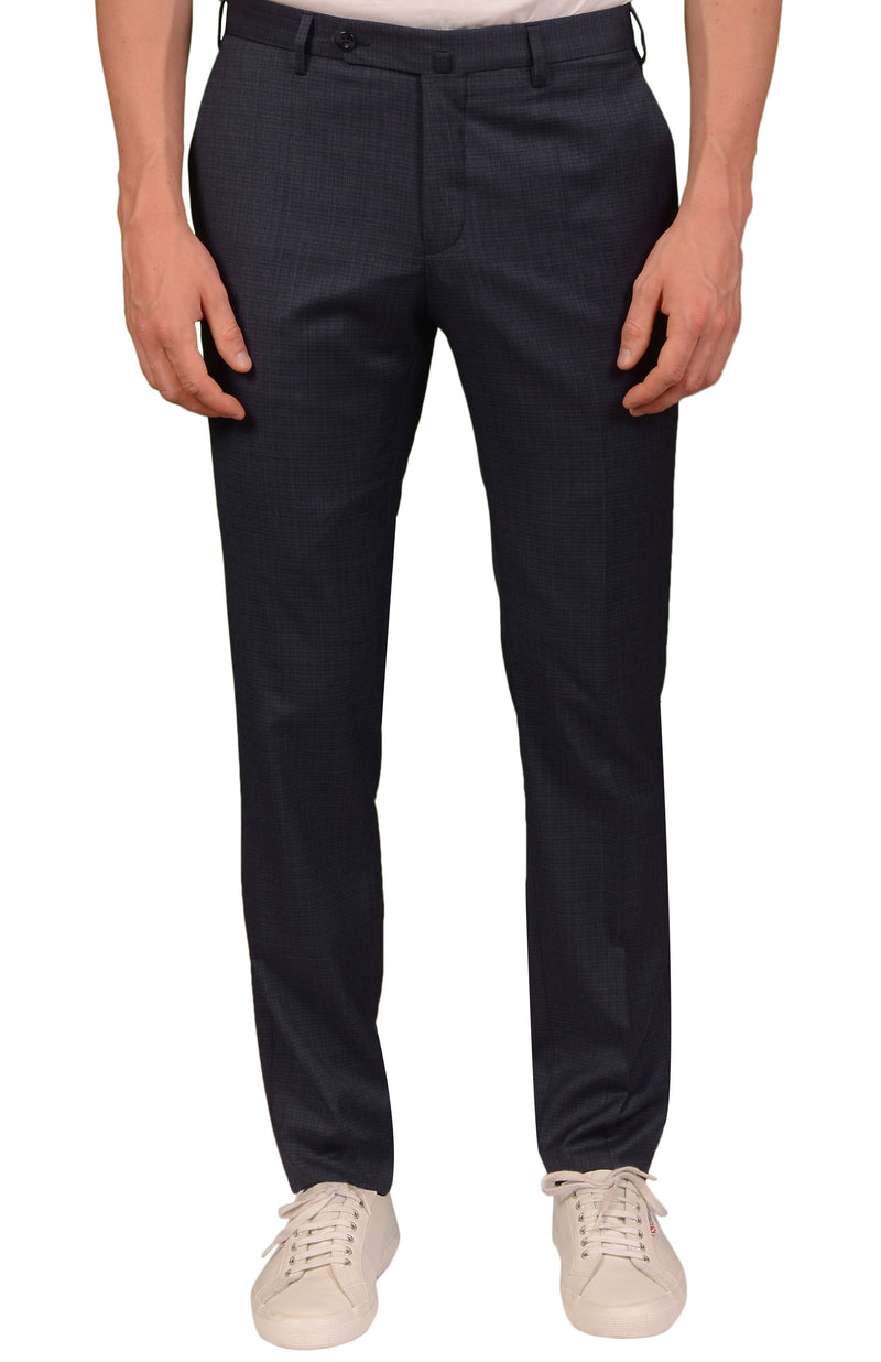 INCOTEX (Slowear) Blue Plaid Wool Flat Front Dress Pants NEW Slim Fit